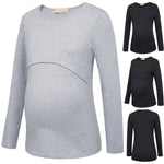 New Women's Lady Long Sleeve Maternity Nursing Breastfeeding Cotton T-shirt Tops