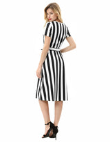 Kate Kasin Women's Striped Dress Cotton Short Sleeve Crew Neck Belt Decorated A-Line