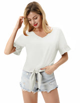 Kate Kasin Women's Ruffled Cuffs Tops Short Sleeve V-Neck Tie Hem Pullover Loose Fit