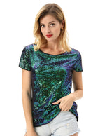 Kate Kasin Women's Sequined T-Shirt Tops Short Sleeve Crew Neck Sparkling Sequins