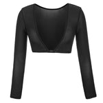 Sexy Women See-Through Mesh Sheer Long Sleeve Reversible Cropped Mini Tops Shrug