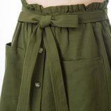 Kate Kasin Women's Buttons Decorated Skirt With Pockets Cotton A-Line Elastic Waist