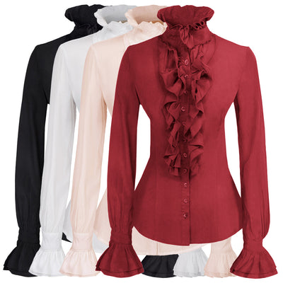 Kate Kasin Vintage Retro Victorian Style Long Sleeve Ruffled Blouse Shirt Tops