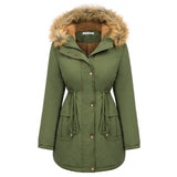 Kate Kasin Women's Winter Warm Thicken Fleece Lined Hooded Outerwear Padded Coat