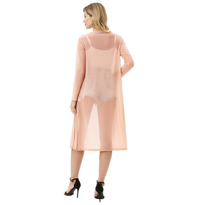 Kate Kasin Women's Semi See-Through Cover-Up Side Split Long Sleeve Open Front Beach