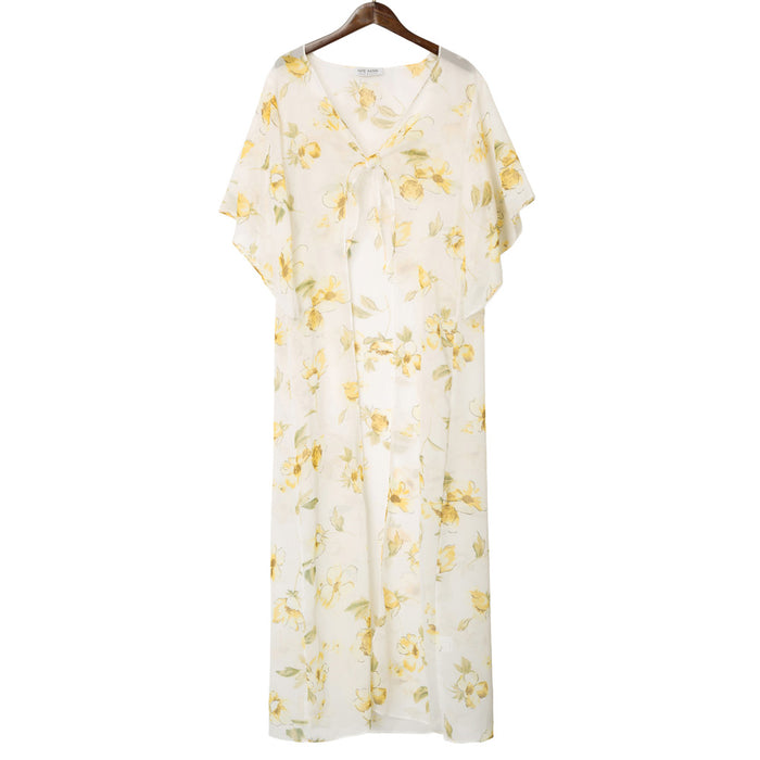 Kate Kasin Women's Long Chiffon Cover-up Bell Sleeves Tie-Front Floral Pattern Summer