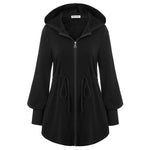 Kate Kasin Women's Drawstring Waist Hoodies Hooded Coat Zip-up Fleece Inside Casual