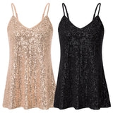 Kate Kasin Women's Sequined Cami Tops Spaghetti Straps V-Neck V-Back Chiffon Lining Sexy