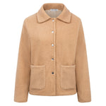 Kate Kasin Women Lightweight Teddy Fleece Coat Long Sleeve Lapel Collar Warm Snap Button