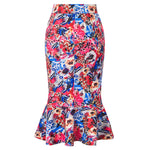 Kate Kasin Women's Mermaid Pencil Skirt Occident Fashion Hips-Wrapped Side Zipper