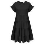 Kate Kasin Women's Cake Dress+Belt Short Raglan Sleeves Crew Neck Loose Fit Casual
