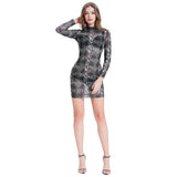 Kate Kasin Sexy Women's See-Through Long Sleeve Mock Neck Hips-wrapped Pencil Dress