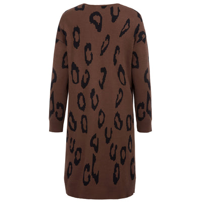 Kate Kasin Women Casual Leopard Pattern Long Sleeve Dropped Shoulders Knitwear Cardigan