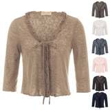 KK Women's 3/4 Sleeve Ruffled Knitting Shrug Knitwear Bolero