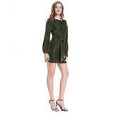 Kate Kasin Women's Tie Waist Dress Casual Loose Fit Long Sleeve Crew Neck