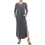 Kate Kasin Women's Casual Long Sleeve Criss Cross Neck Sides Split Straight Dress