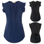 Clearance Sale Womens Ruffled Cap Sleeve V-Neck Curved Hem Pleated Blouse Tops