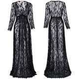 Sexy Womens Lady Summer See Through Lace Deep V-neck Maternity Long Maxi Dress