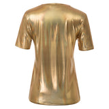 Kate Kasin Women's Shiny Metallic-Like T-Shirt Tops Short Sleeve Crew Neck Loose Fit
