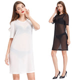 KK Sexy Women's Full See-Through Short Sleeve Crew Neck Dress