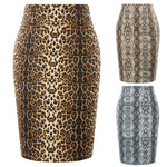 Kate Kasin Women's Fashion Snake Skin Pattern Hips-wrapped Bodycon Pencil Skirt