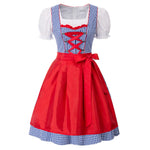 Kate Kasin Women 3pcs Set German Bavarian Oktoberfest Costumes Cotton Dress+Tops+Apron