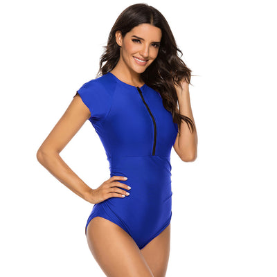 Kate Kasin Women's One-Piece Bathing Suit Padded Swimwear Cap Sleeve Crew Neck Zip-up