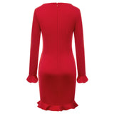 Kate Kasin Women's Ruffles Decorated Bodycon Dress Long Sleeve U-Neck Hips-Wrapped