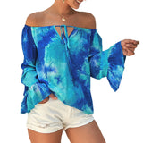 Kate Kasin Women's Tie-Dyed Tops Off Shoulder Long Sleeve Casual Loose Fit Summer