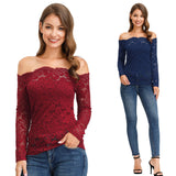 Kate Kasin Women's Off Shoulder Floral Lace Tops Long Sleeve Sexy Modal Lining