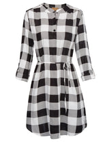 Womens Cotton Check Shirt Mini Dress Casual Long Sleeve Plaid Party Beach Dress