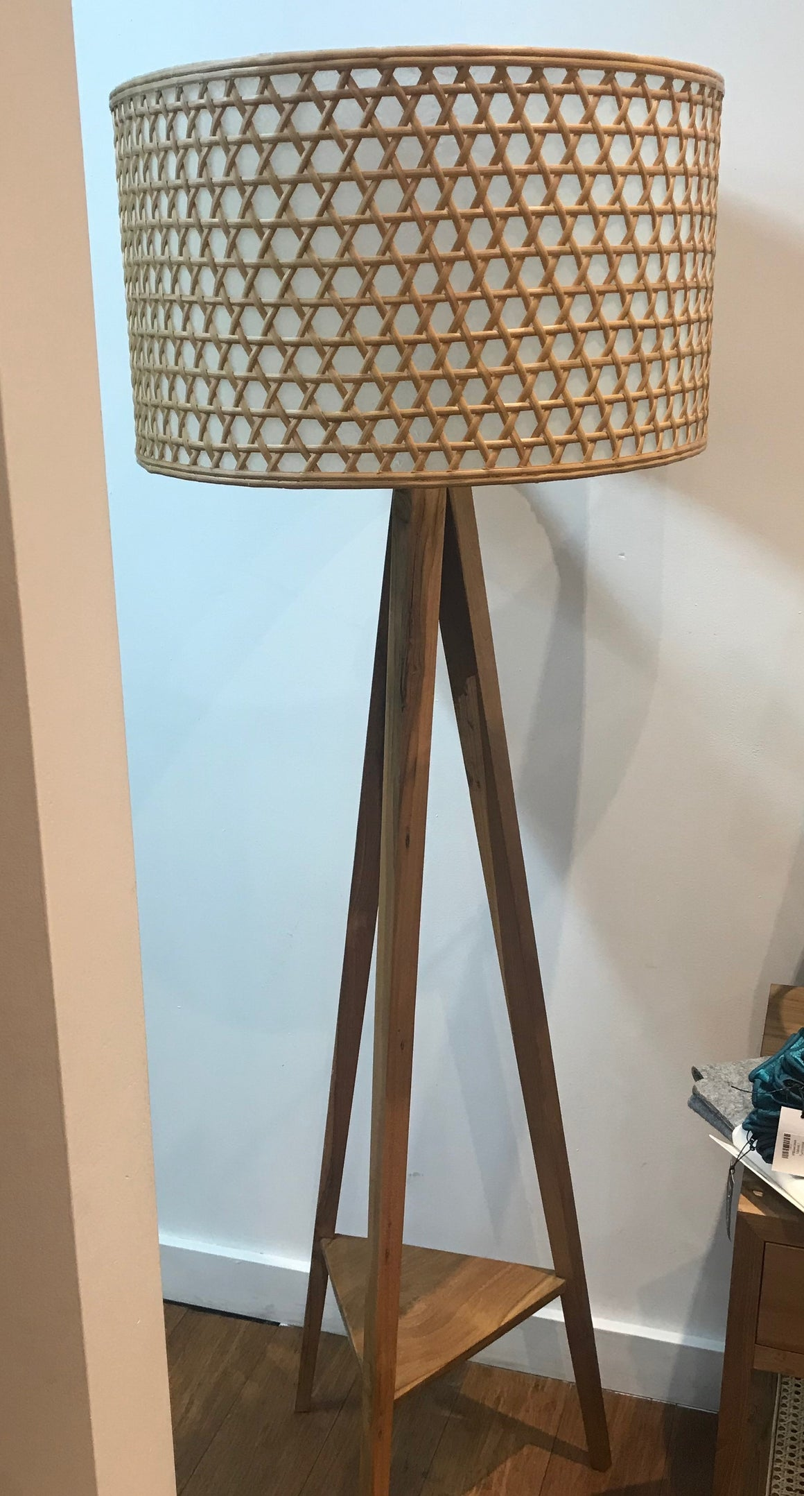 Lamp Wood Tri Shelf Tall