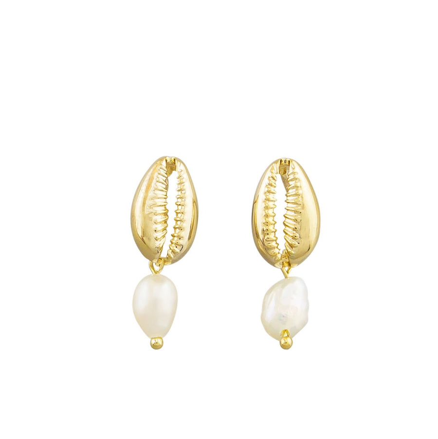 Earring Cowrie Shell and Pearl