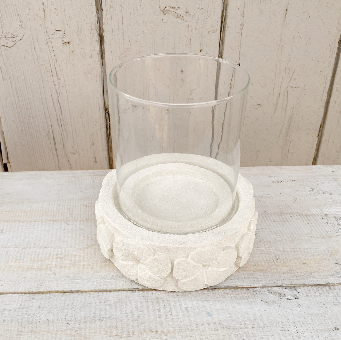 Candle Holder Stone & Glass