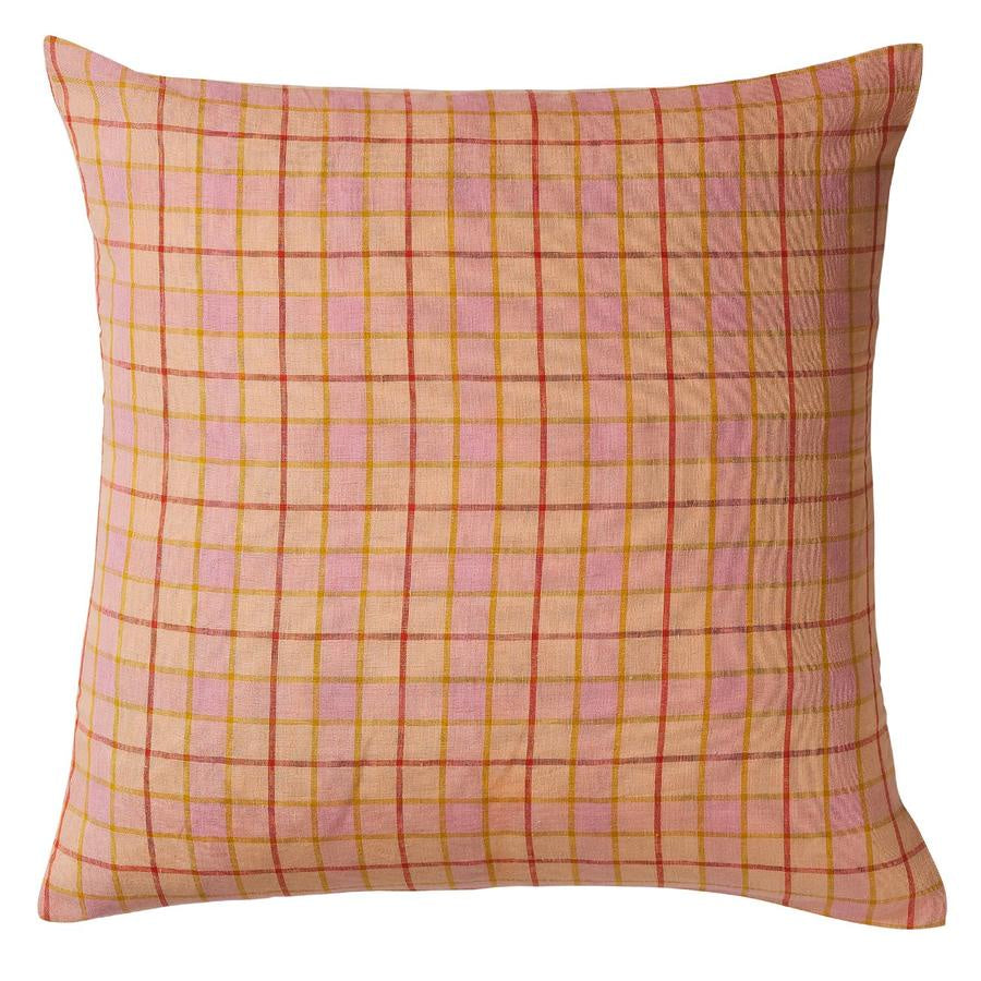 Pillowcase Euro Isabel Check Linen Bellini