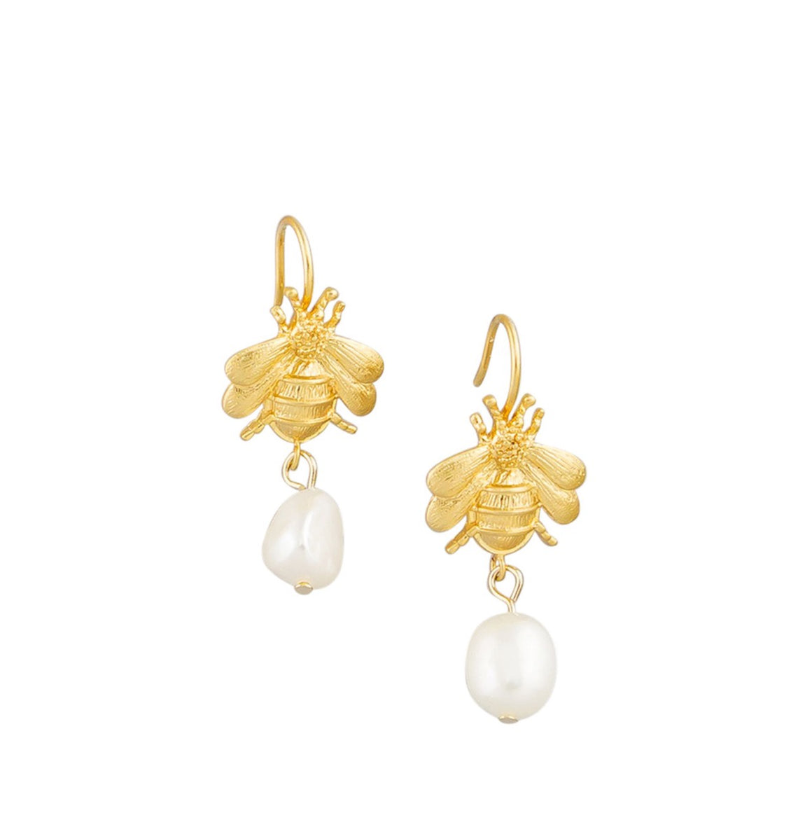 Earring Gold Bee & Pearls