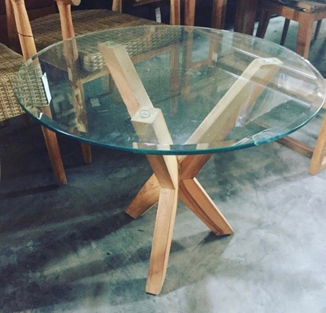 Coffee Table Round X Leg Glass Top