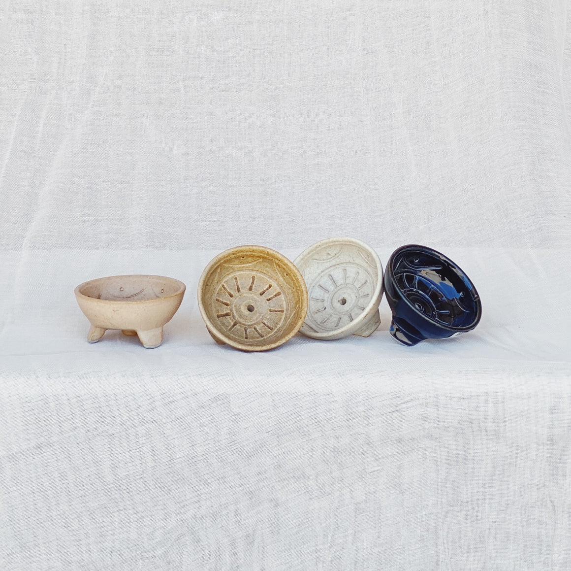 Incense Holder Dish Ceramic Round