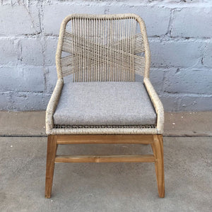 Dining Chair Rose Synthetic Rattan Teak