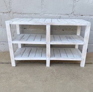 Bookcase White Wood Wide 2 Section