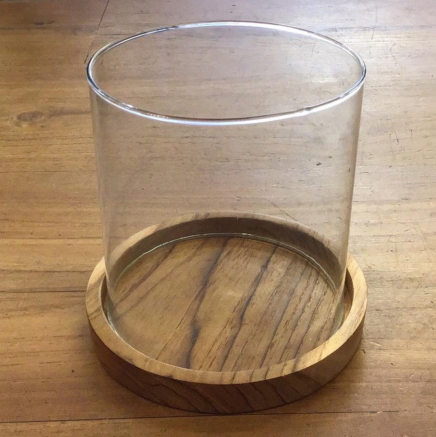 Candle Plate wood with Glass