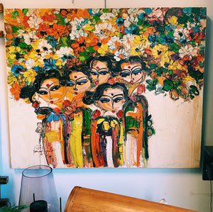 Art 100 x 120cm Ladies & Flowers