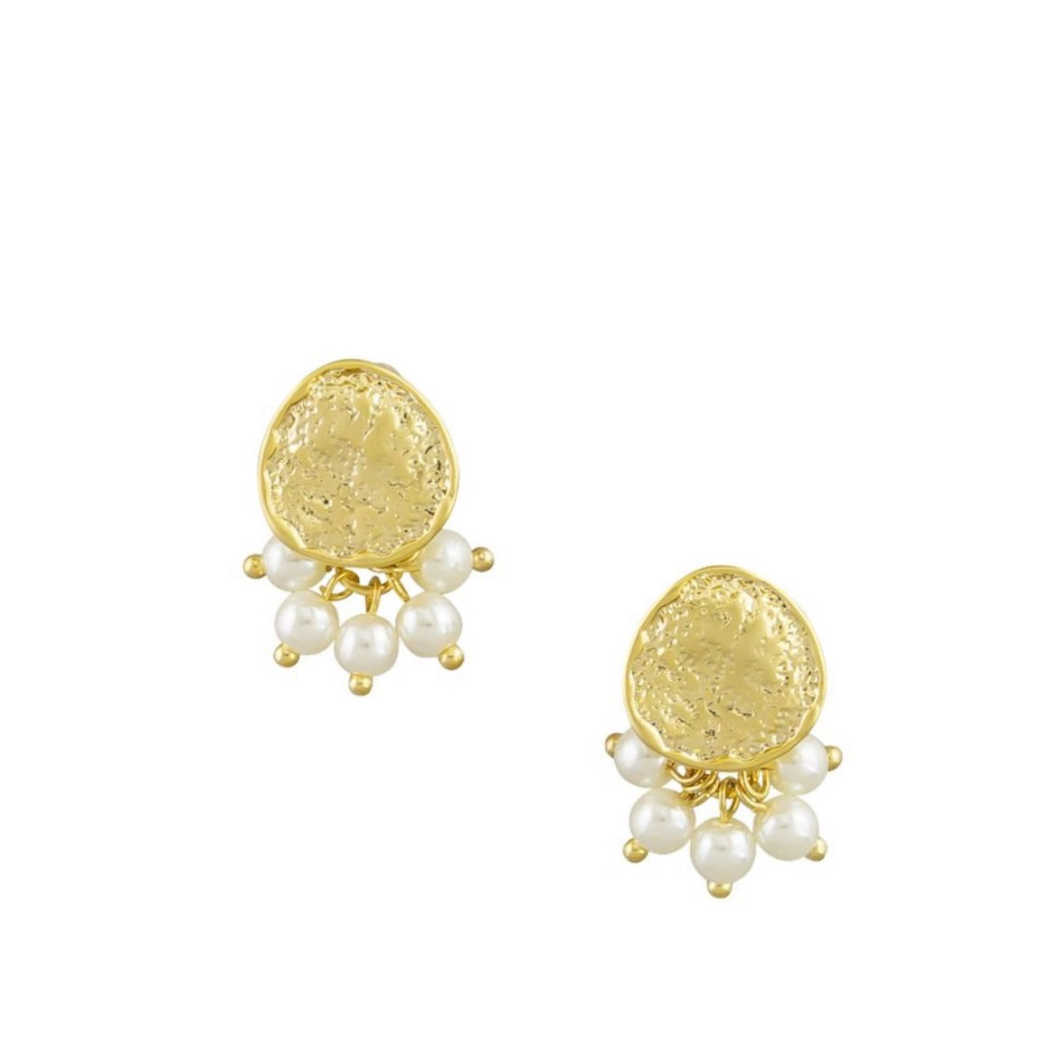 Earring Gold Disc and Cluster