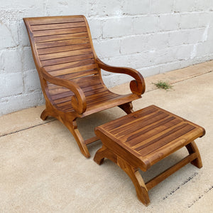 Chair Lazy Teak Wood & Stool