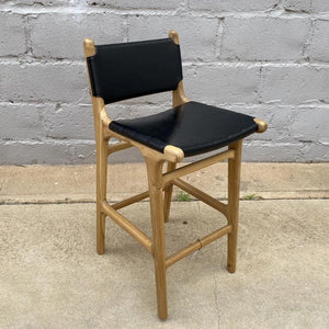 Bar Stool Leather with Back 65cm Black Flat