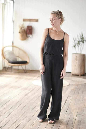 Pants Linen Wide Leg Black