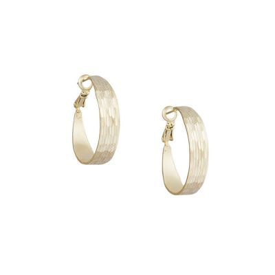 Earring Grooved Hoops Gold