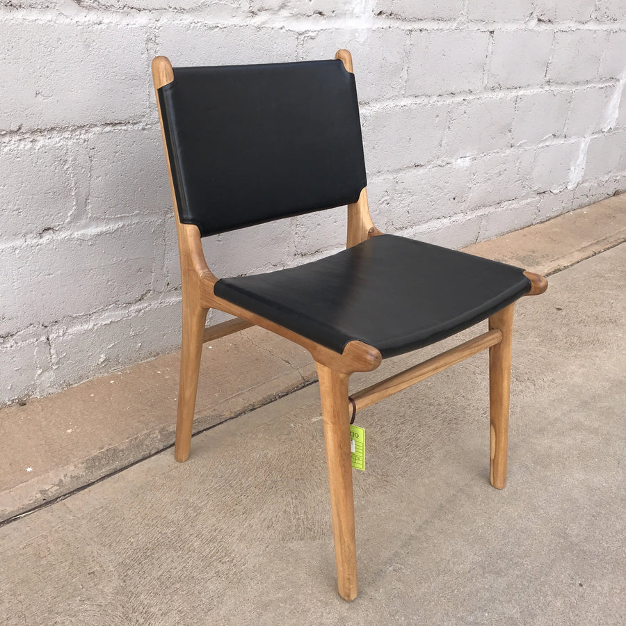 Dining Chair Leather Flat Black