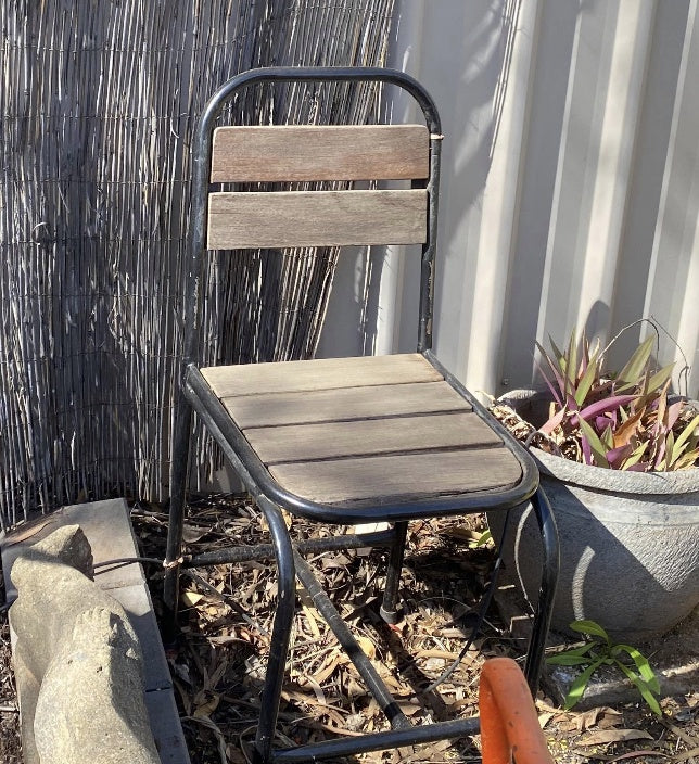 Dining Chair Outdoor slatted & Iron