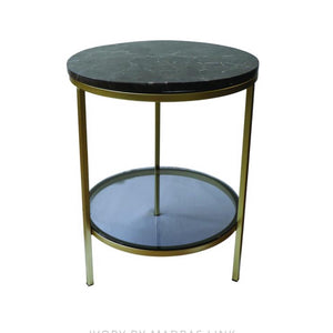 Side Table Round Brown Marble
